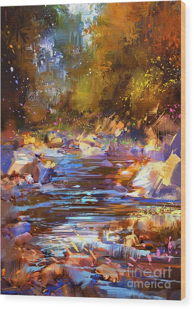 Wood Print featuring the painting Colorful River by Tithi Luadthong