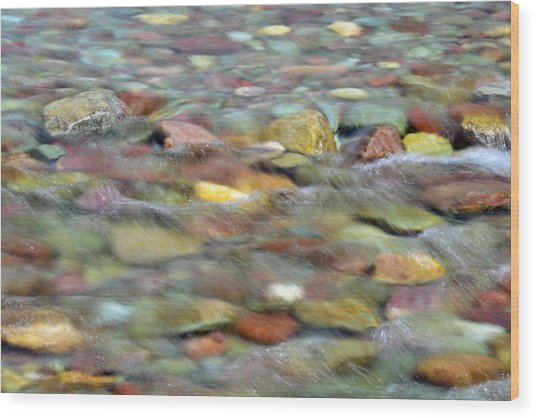 Colorful Rocks In Two Medicine River In Glacier National Park Wood Print