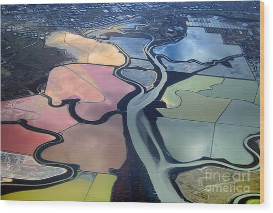 Colorful Salt Evaporation Ponds In San Franccisco Bay Area Wood Print