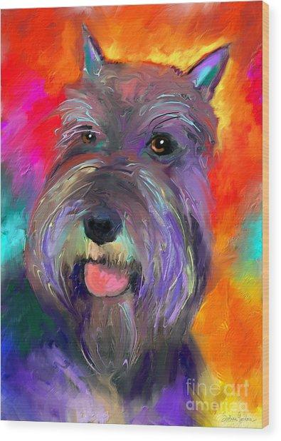 Colorful Schnauzer Dog Portrait Print Wood Print