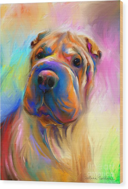 Colorful Shar Pei Dog Portrait Painting  Wood Print