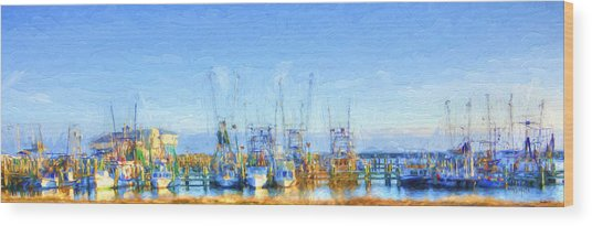 Colorful Shrimp Boat Harbor Pass Christian Ms Wood Print