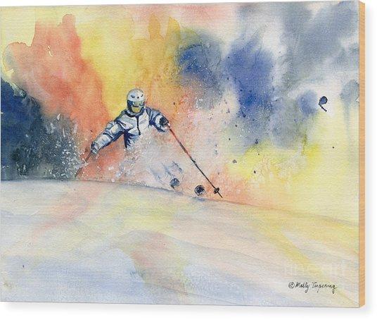 Colorful Skiing Art 2 Wood Print