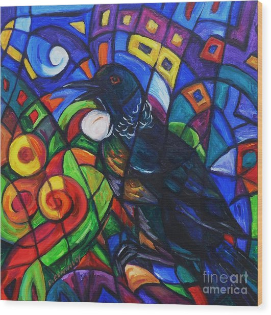 Colorful Song Of Tui Wood Print