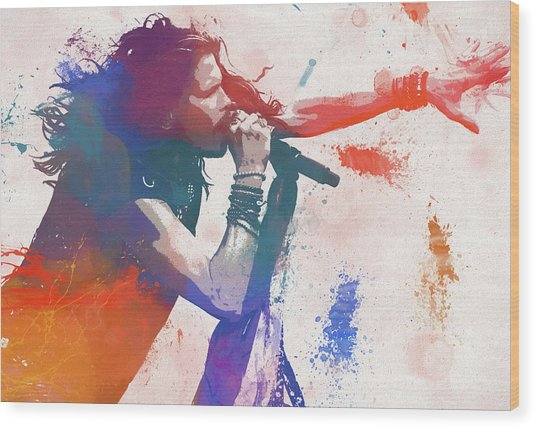 Colorful Steven Tyler Paint Splatter Wood Print