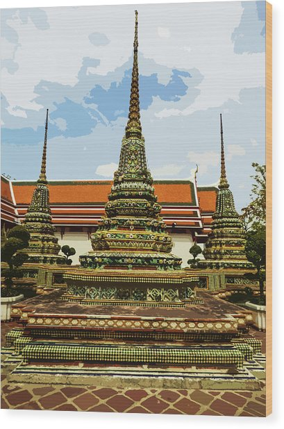 Colorful Stupas At Wat Pho Wood Print
