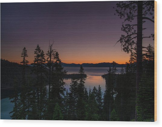 Colorful Sunrise In Emerald Bay Wood Print