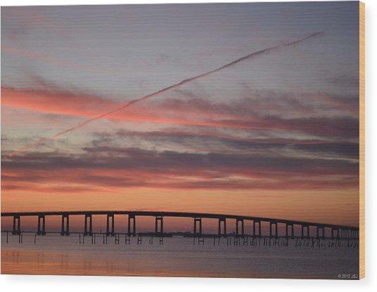 Colorful Sunrise Over Navarre Beach Bridge Wood Print