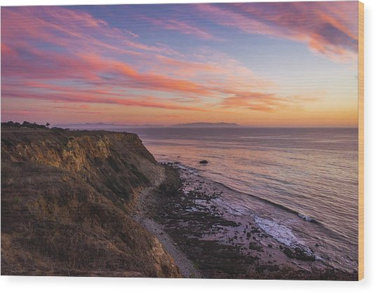 Colorful Sunset At Golden Cove Wood Print