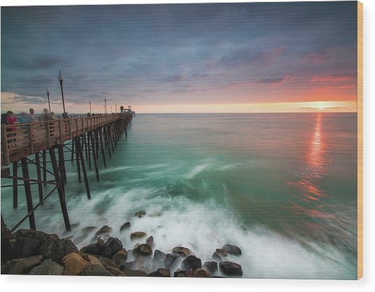 Colorful Sunset At The Oceanside Pier Wood Print