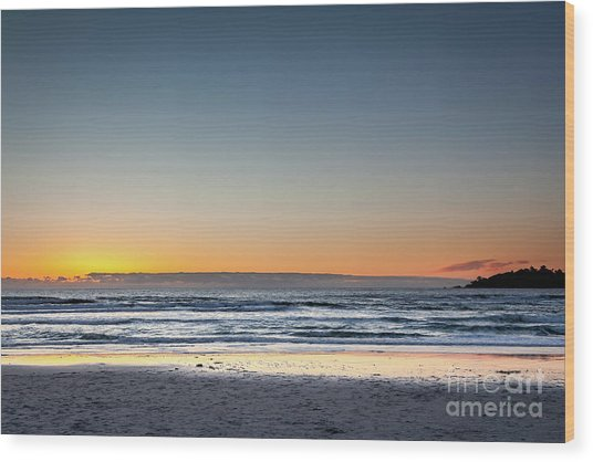 Colorful Sunset Over A Desserted Beach Wood Print