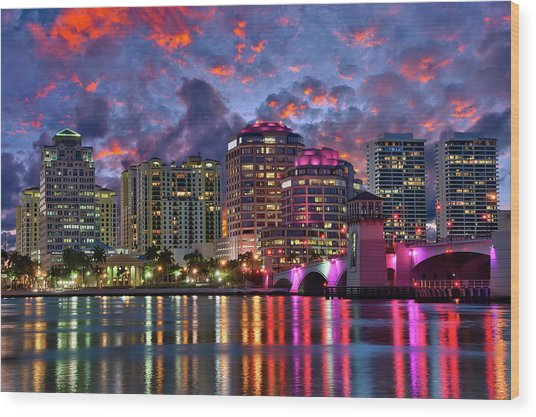 Colorful Sunset Over Downtown West Palm Beach Florida Wood Print