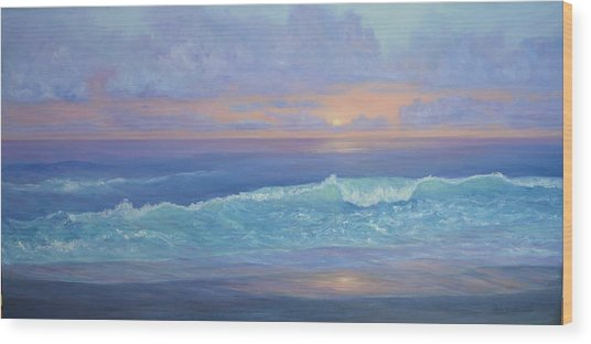 Cape Cod Colorful Sunset Seascape Beach Painting With Wave Wood Print