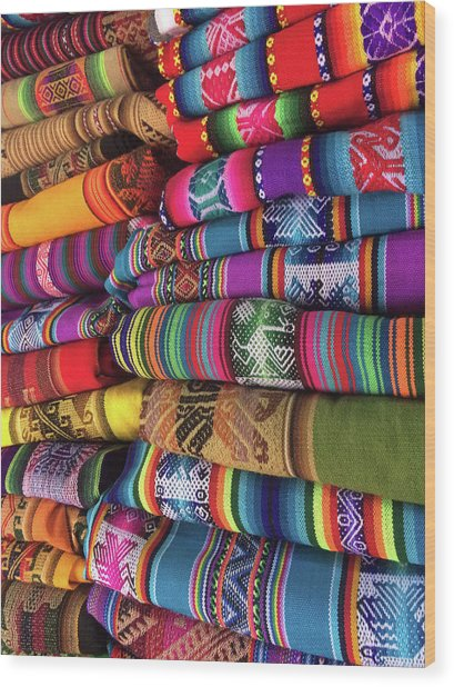 Colorful Tablecloths Wood Print