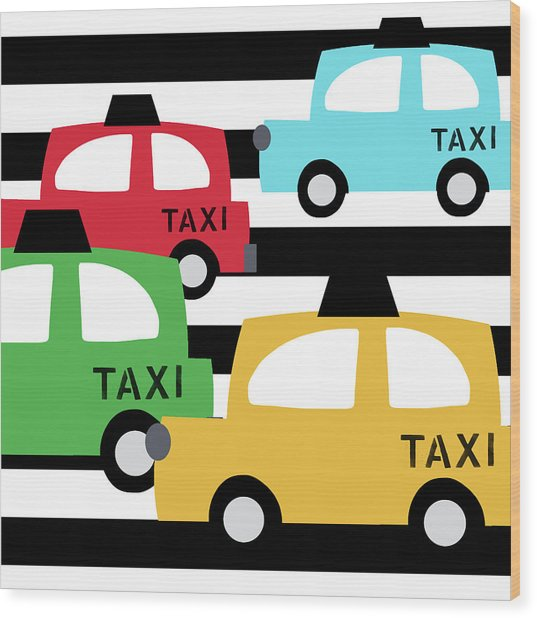 Colorful Taxis- Art By Linda Woods Wood Print
