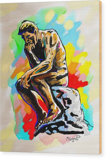 Colorful Thinker Wood Print