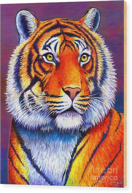 Fiery Beauty - Colorful Bengal Tiger Wood Print