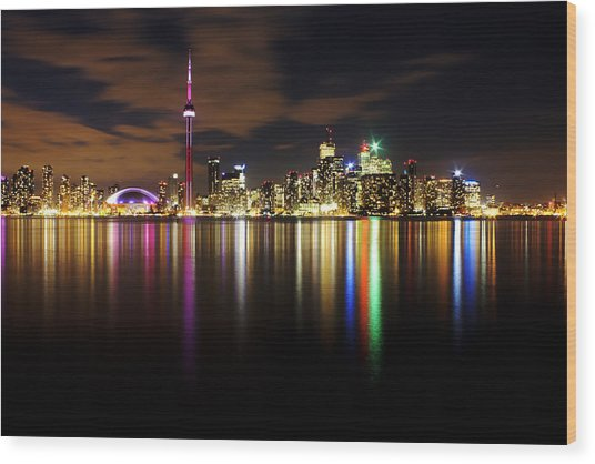 Colorful Toronto Wood Print by Matt  Trimble