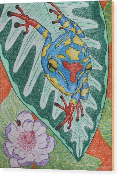 Colorful Tree Frog Wood Print
