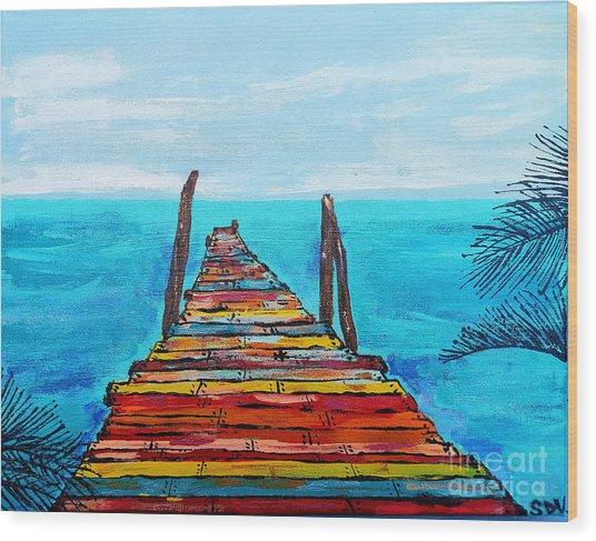 Colorful Tropical Pier Wood Print