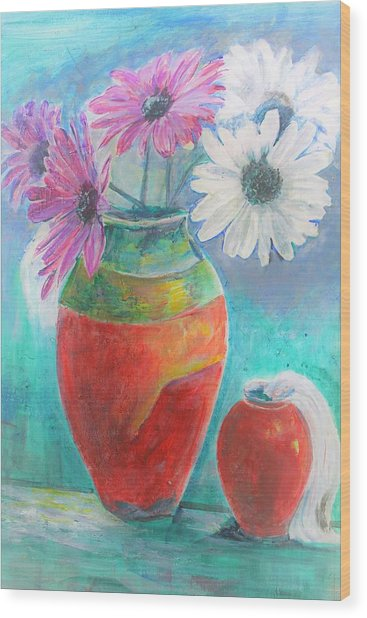 Colorful Vases And Flowers Wood Print