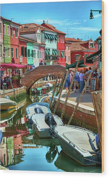 Colorful View In Burano Wood Print