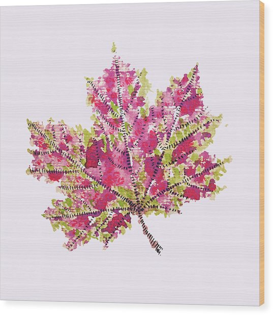 Colorful Watercolor Autumn Leaf Wood Print