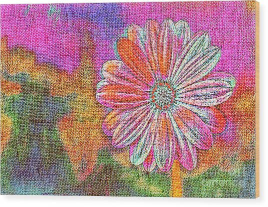 Colorful Watercolor Flower Wood Print