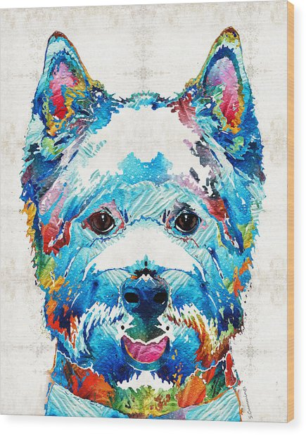 Colorful West Highland Terrier Dog Art Sharon Cummings Wood Print