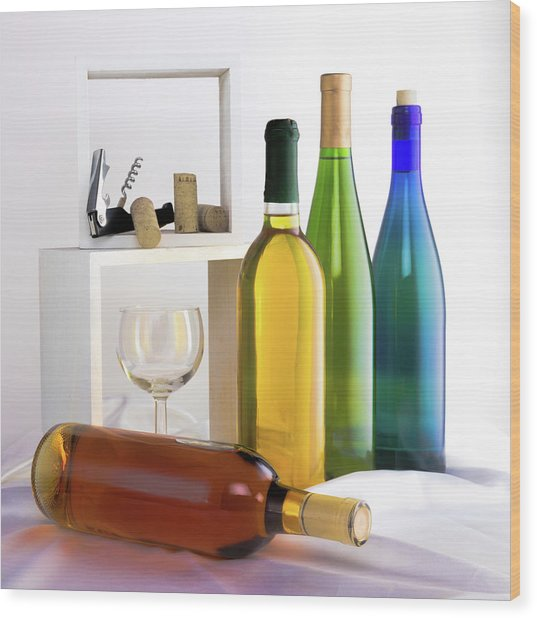 Colorful Wine Bottles Wood Print