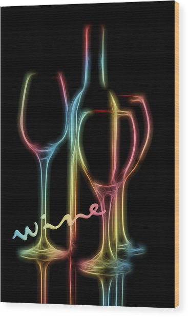 Colorful Wine Wood Print