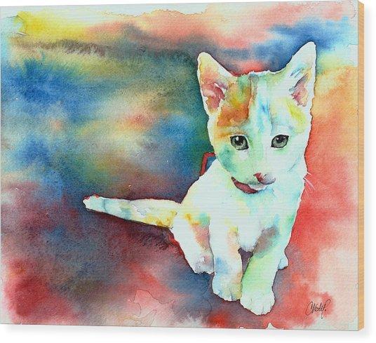 Colorfull Kitty Wood Print