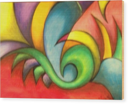 Colors And Curves II Wood Print by Karina Repp