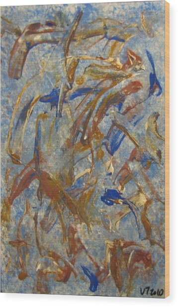 Colors Dance On Blue Wood Print by Veronica Trotter