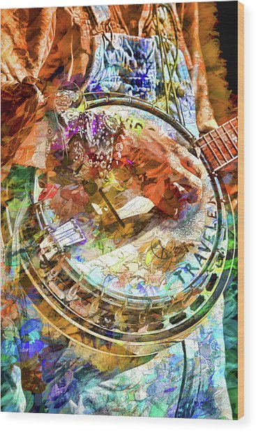 Colors Of A Banjo Busker Wood Print