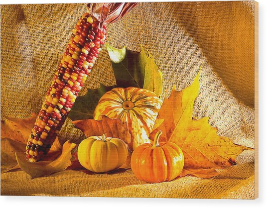 Colors Of Autumn Wood Print by Naman Imagery