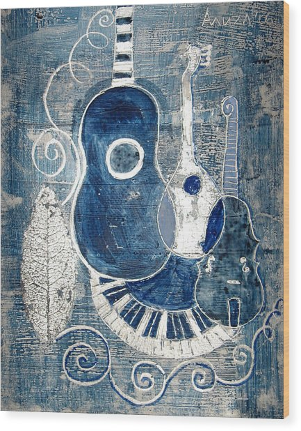Colors Of Music 6 Wood Print by Aliza Souleyeva-Alexander