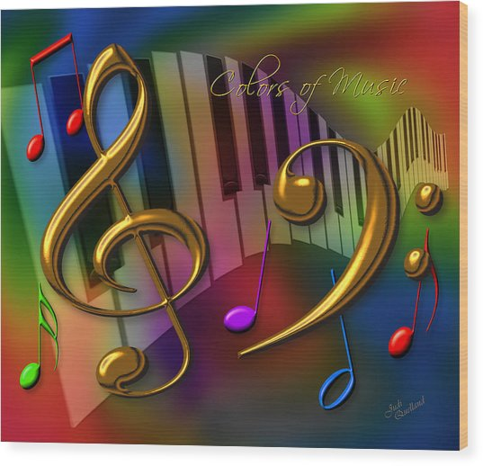 Colors Of Music Wood Print