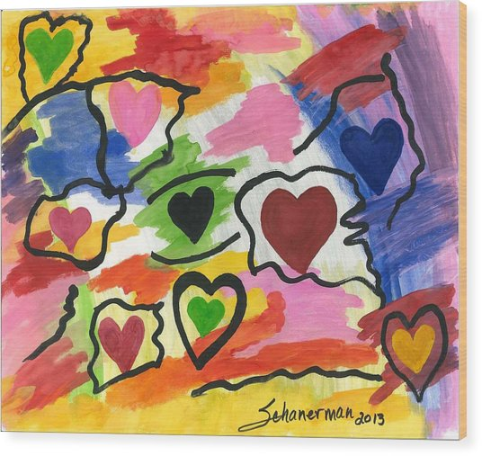 Colors Of The Heart Wood Print
