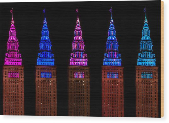 Colors Of The Terminal Tower Wood Print