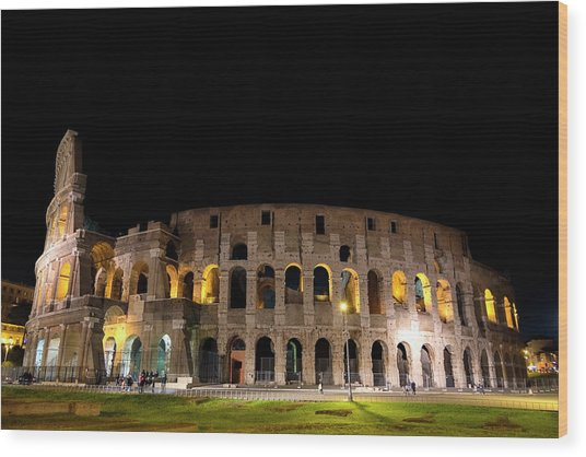 Wood Print featuring the photograph Colosseum by Nikos Stavrakas
