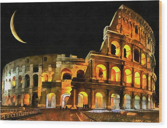 Colosseum Under The Moon Wood Print