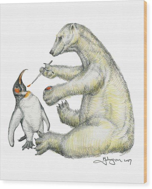 Colour Bear Wood Print