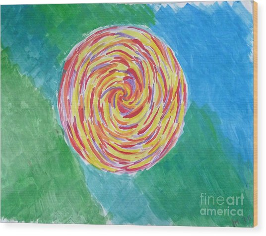 Colour Me Spiral Wood Print