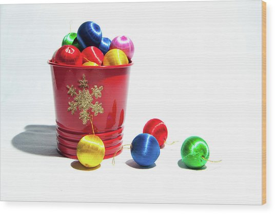 Coloured Baubles In A Pot Wood Print