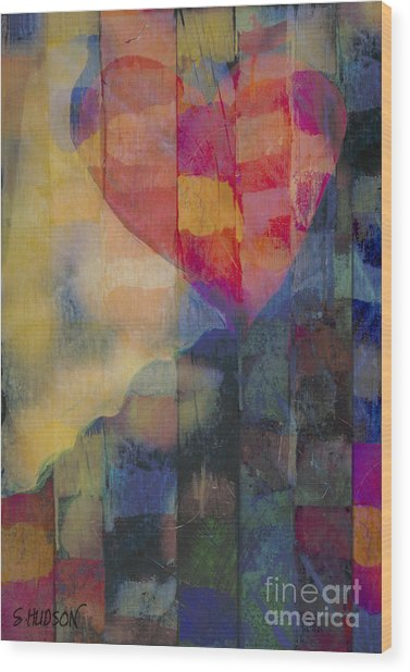 colourful abstract Valentine - Heart Afloat Wood Print
