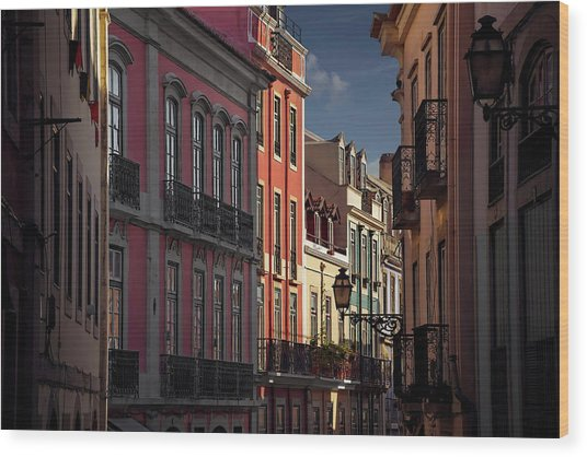 Colourful Architecture In Lisbon Portugal  Wood Print