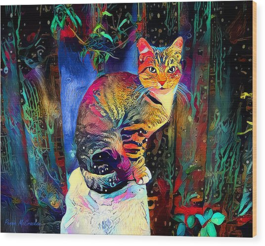 Colourful Calico Wood Print