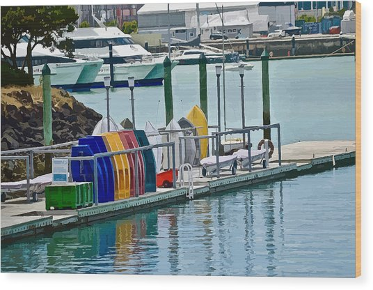 Colourful Dinghies Auckland Wood Print