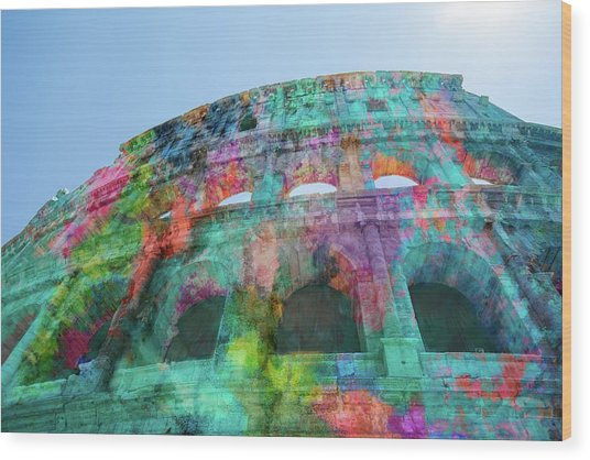 Wood Print featuring the mixed media Colourful Grungy Colosseum In Rome by Clare Bambers
